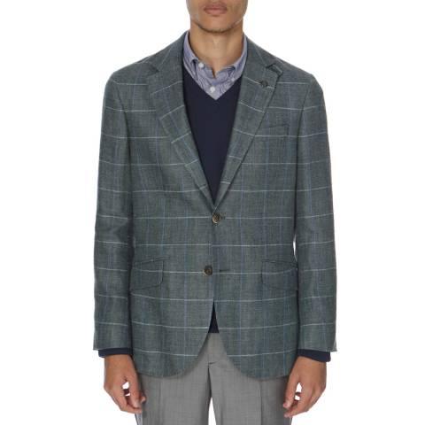 Hackett London Ash Silk Blend Green/Blue Twin Windowpane Check Jacket