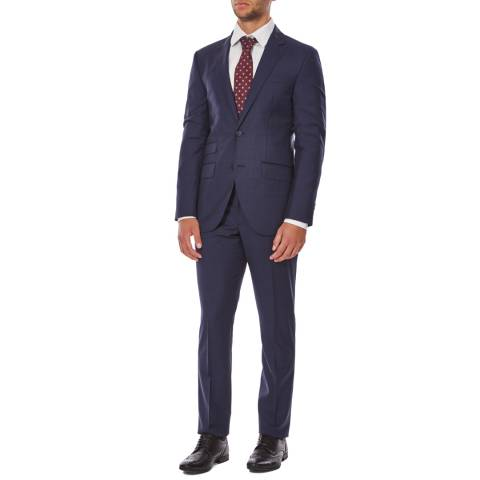 Hackett London Navy Subtle Check Wool Suit