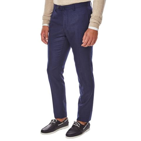 Hackett London Navy Plain Flannel Wool Trousers
