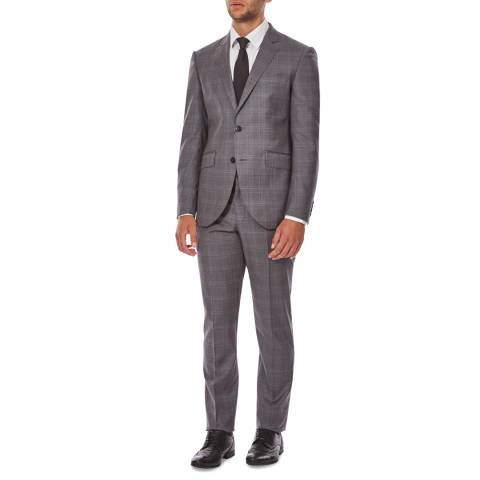 Hackett London Mid Grey/Blue Mayfair Check Wool Suit