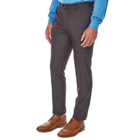 Hackett London Deep Grey Plain Wool Trousers