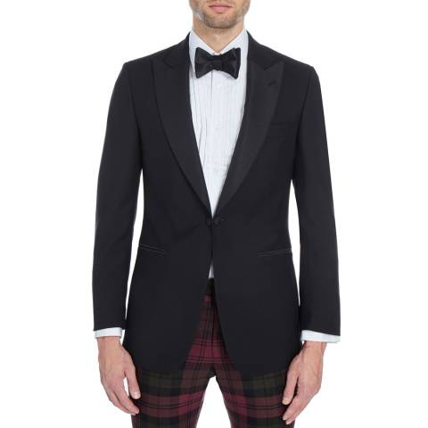 Hackett London Black Wool Blend Dinner Jacket