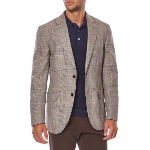 Hackett London Brown/Multi Contrast Check Wool Blend Jacket