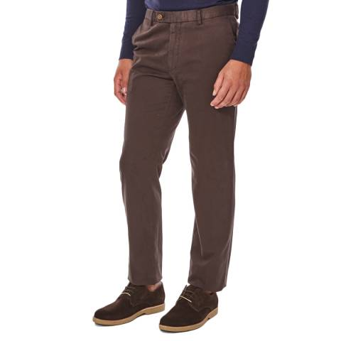 Hackett London Brown Sanderson Tailored Cotton Stretch Chinos