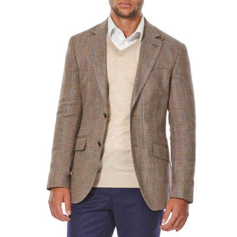 Hackett London Ash Brown/Blue Silk Blend Windowpane Check Jacket