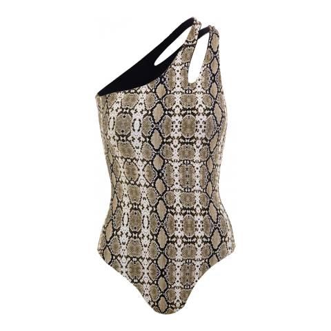 Melissa Odabash Snake Print Jamaica Asymmetrical Swimsuit