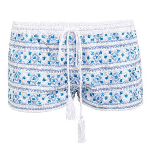 Melissa Odabash White/Blue Carolina Beach Shorts