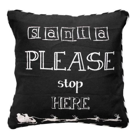 Kilburn & Scott Black/White Santa Please Stop Here Cushion 45 x 45 cm