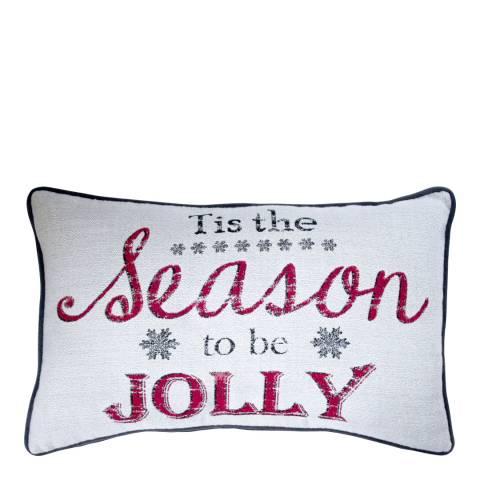 Kilburn & Scott White/Multi Tis the Season to be Jolly Cushion