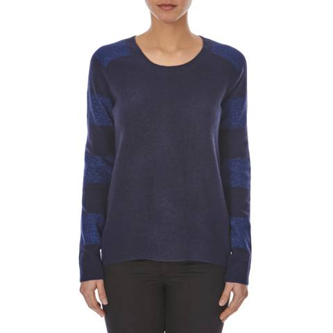 Halston Heritage Blue Sparkle Striped Angora and Wool Blend Jumper