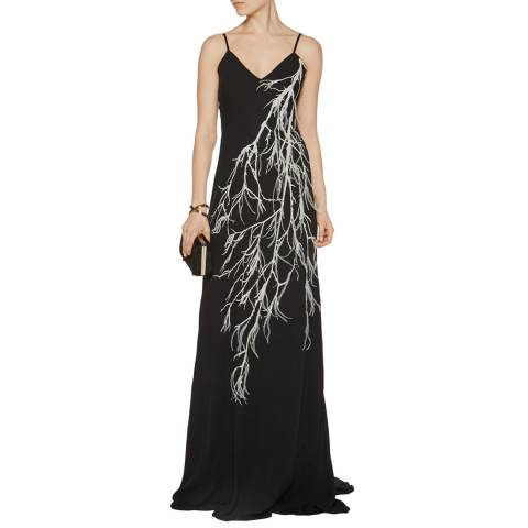 Halston Heritage Black Embellished Printed Crepe Gown