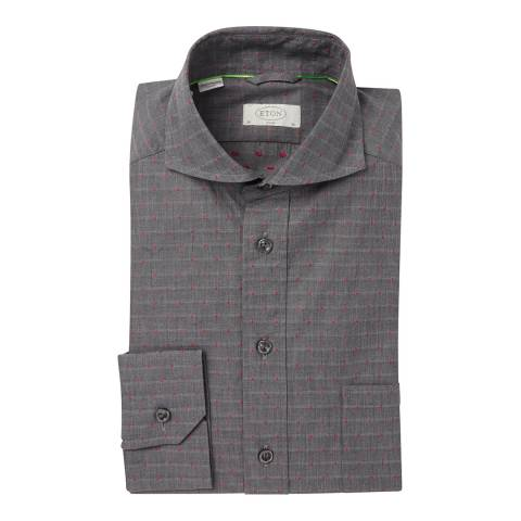 Eton Shirts Deep Grey/Pink Slim Fit Traditional Single Button Cuff Cotton Shirt
