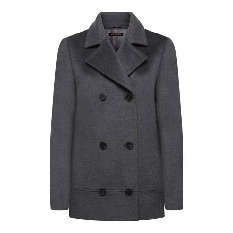Jaeger Grey Longline Double Breasted Wool Peacoat