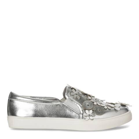 Carvela Women's Silver Floral Detail Slip On Juniper Sneakers