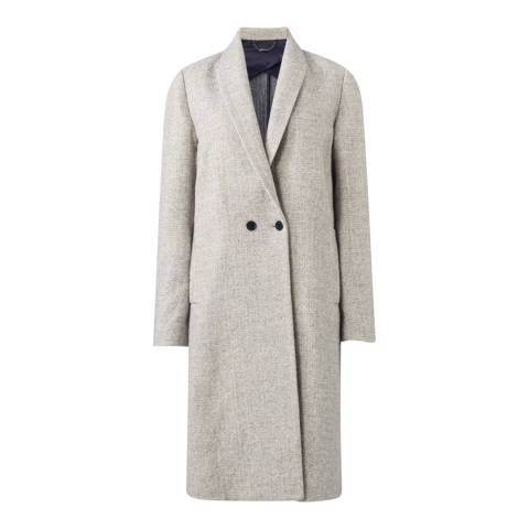 Jigsaw Womens Pale Grey Melange Knit Back Cotton Blend Coat