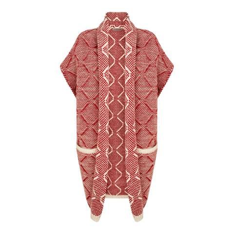 Jigsaw Red Weave Knit Pattern Wool Coat