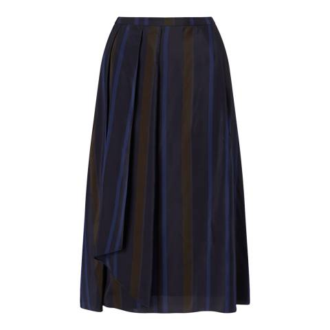Jigsaw Womens Navy Stripe Pleated Skirt