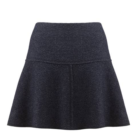 Jigsaw Womens Navy Speckled Wool Flared Skirt