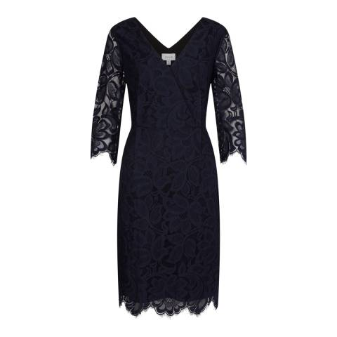 Jigsaw Womens Navy Scalloped V Neck Cotton Blend Dress
