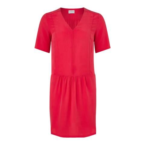 Jigsaw Womens Bright Pink V Neck Seam Detail Silk Dress