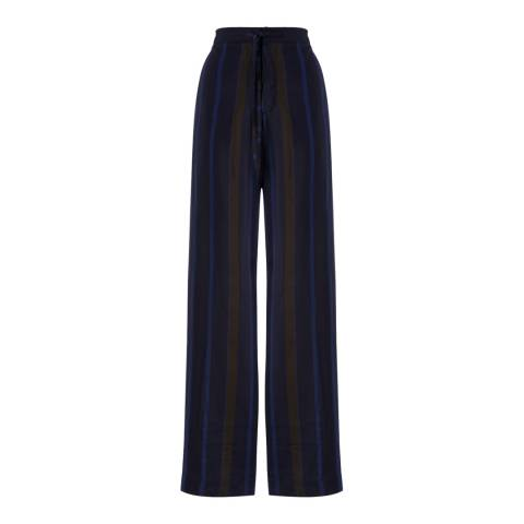 Jigsaw Womens Navy Stripe Wide Leg Trousers