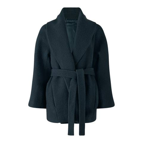 Jigsaw Deep Teal Belted Wool Coat