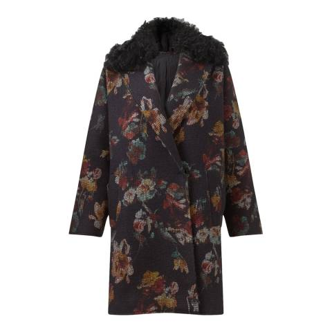 Jigsaw Womens Black Needlepunch Oversized Floral Wool Blend Coat