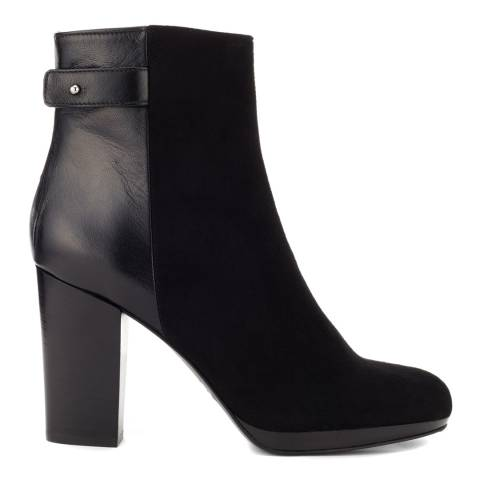 Jigsaw Womens Black Leather/Suede Erica Zip Midi Boot