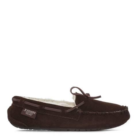 Fenlands Sheepskin Ladies Brown Moccasin Slippers