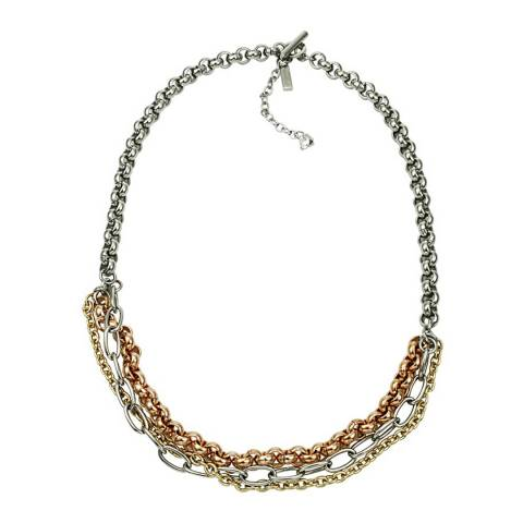 Chloe by Liv Oliver Tri Colour Multi Chain Necklace
