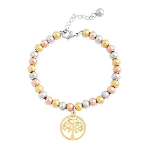 Chloe Collection by Liv Oliver Tri Colour Family Tree Charm Bracelet