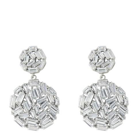Black Label by Liv Oliver Silver Double Disc Earrings