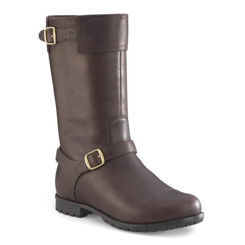 UGG Brown Leather Gershwin Sheepskin Lined Long Boots