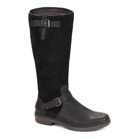 UGG Black Thomsen Suede and Leather Sheepskin Lined Boots