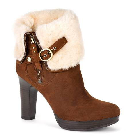 UGG Chestnut Suede Scarlett Sheepskin Lined Ankle Boots