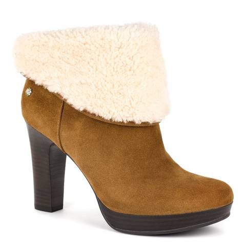 UGG Tan Suede Dandylion II Sheepskin Lined Ankle Boots