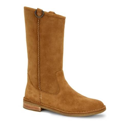 UGG Tan Suede Daphne Sheepskin Lined Boots