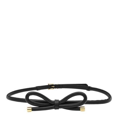 Reiss Black Leather Swift Bow Tie Belt