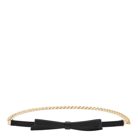 Reiss Black Leather Marlie Chain With Bow Belt
