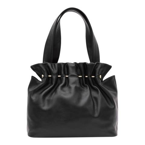 Reiss Black Leather Lark Metal Bar Tote Bag