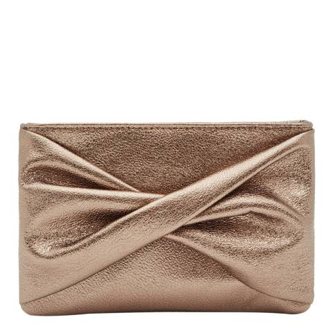 Reiss Pewter Suede Knotted Purse