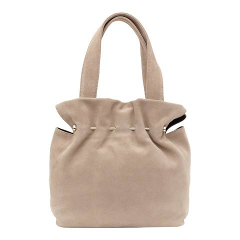 Reiss Nude Leather Cassius Metal Bar Tote Bag