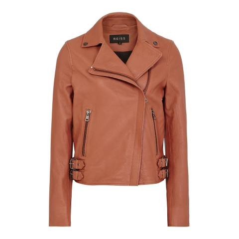 Reiss Rosewood Sadie Leather Biker Jacket