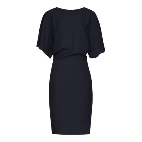 Reiss Midnight Navy Fitted High Neck True Dress