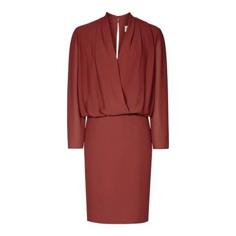 Reiss Red Rust Blue Chiffon Dress