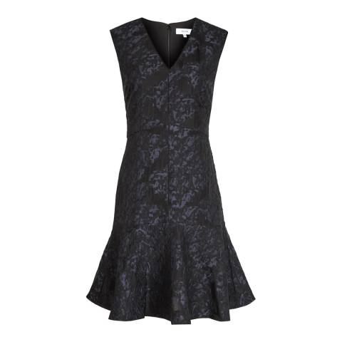 Reiss Midnight Saffy Jacquard Cotton Blend Dress
