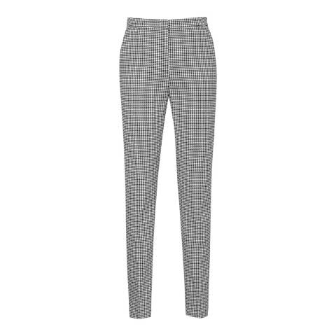 Reiss Black/White Check Linear Trousers