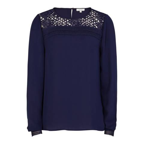 Reiss Navy Lace Long Sleeve Tilly Top