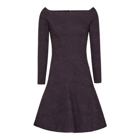 Reiss Purple Fit and Flare Tinsel Dress