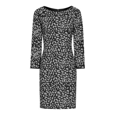Reiss Black/Slate Cotton Blend Janie Dress